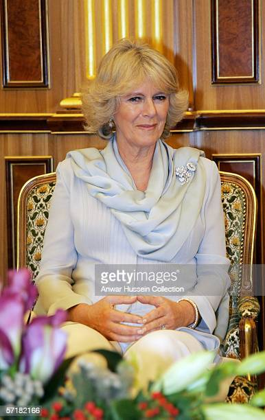 Camilla Duchess of Cornwall wearing a traditional Shalwar Kameez attends an audience with King Abdullah on the sixth day of a 12 day official tour...
