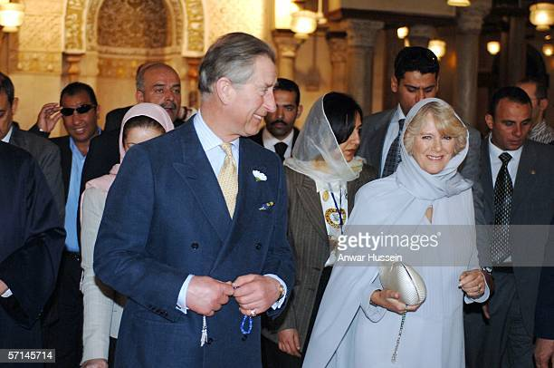 Camilla Duchess of Cornwall wearing a traditional Shalwar Kameez and headscarf visits the Al Azhar mosque with Prince Charles Prince of Wales on the...