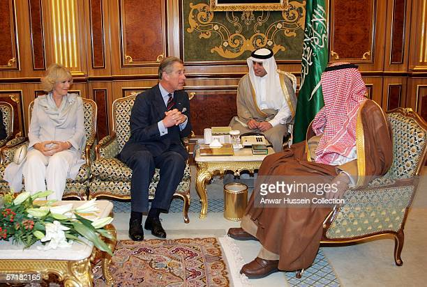 Camilla Duchess of Cornwall wearing a traditional Shalwar Kameez and Prince Charles Prince of Wales attend an audience with King Abdullah on the...
