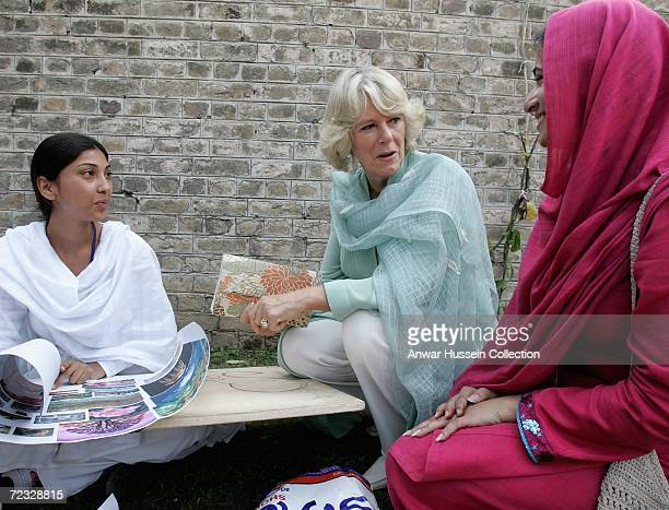 Camilla Duchess of Cornwall wearing a traditional Shalwar Kameez chats to art students at the all female Fatima Jinnah University on the third day of...