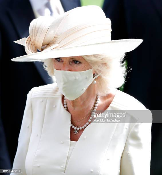 Camilla, Duchess of Cornwall wears a face mask as she attends day 2 of Royal Ascot at Ascot Racecourse on June 16, 2021 in Ascot, England.