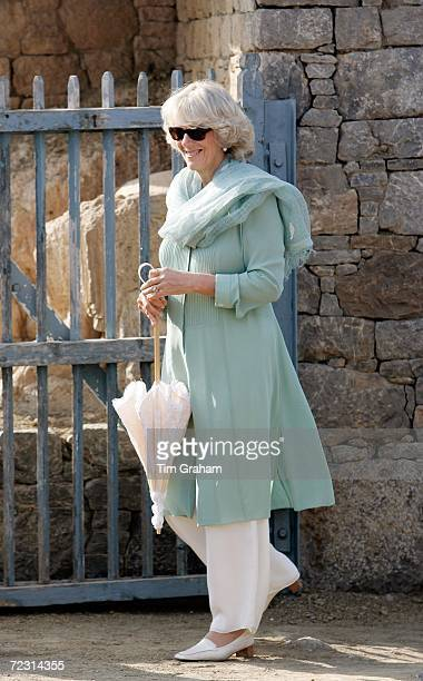 Camilla, Duchess of Cornwall wears a shalwar kameez for a visit to a Buddhist monastery archaeological site in Taxila on October 31, 2006 in...