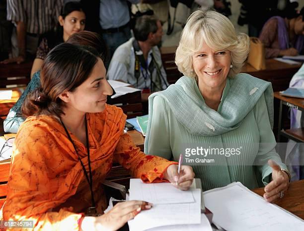 Camilla Duchess of Cornwall wears a shalwar kameez to meet students at the allfemale Fatima Jinnah University in Rawalpindi