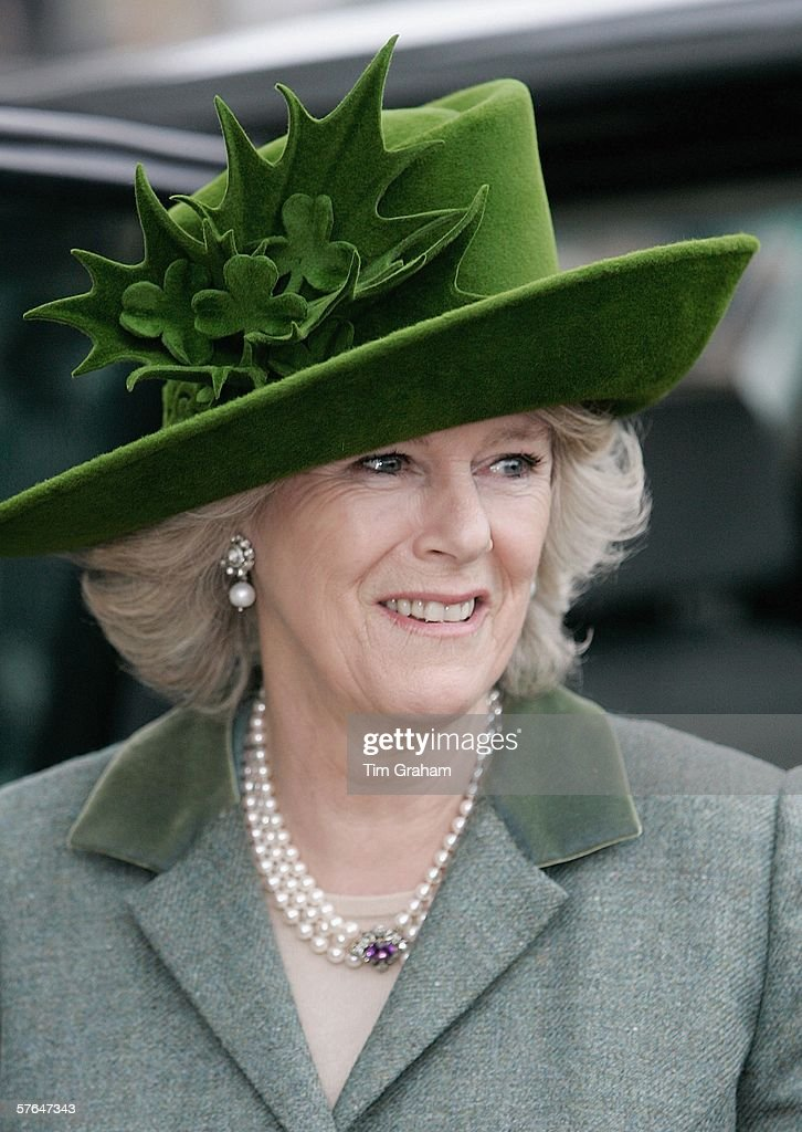 Camilla, Duchess of Cornwall wears a St Patrick's Day themed hat designed by milliner Philip Treacy to the final day of Cheltenham Races on March 17, 2006 in Cheltenham, England.