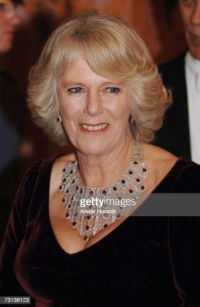 Camilla Duchess of Cornwall wears a stunning ruby and diamond necklace at a gala concert to celebrate the 150th anniversary of the Philadelphia...