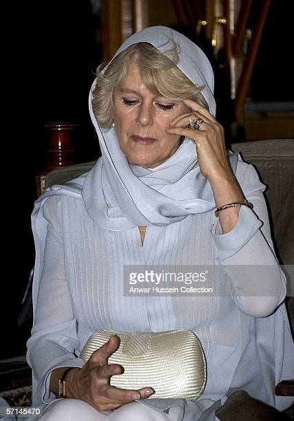 Camilla Duchess of Cornwall wears a traditional Shalwar Kameez and headscarf as a mark of respect when she visits visit the AlAzhar mosque on the...