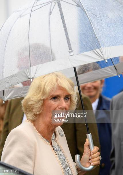 Camilla Duchess of Cornwall who is also VicePresident of the Royal Cornwall Agricultural Association attends the Royal Cornwall Show on June 07 2018...