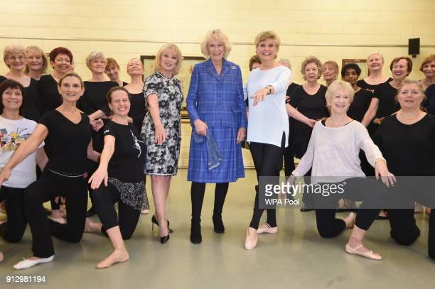 Camilla Duchess of Cornwall with Elaine Paige and Angela Rippon as she visits the Royal Academy of Dance to meet students and staff and learn about...