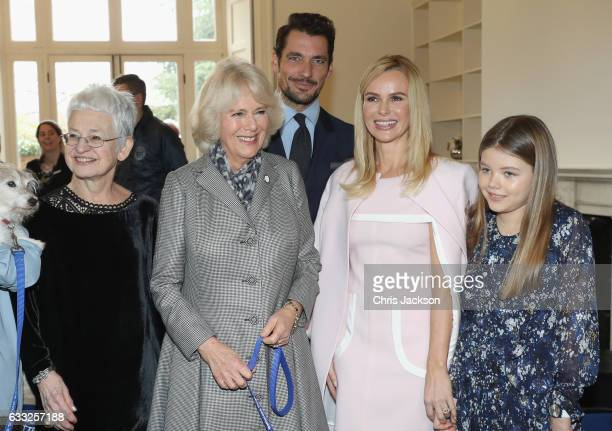 Camilla Duchess Of Cornwall with Jacqueline Wilson David Gandy Amanda Holden and her daughter Alexa Hughes during her visit to Battersea Dogs and...