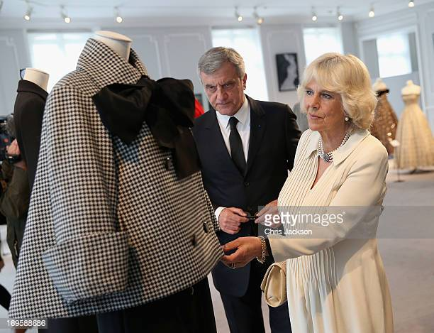 Camilla, Duchess of Cornwall with Sidney Toledano, CEO of Christian Dior, as she visits the headquarters of Dior on May 28, 2013 in Paris France....
