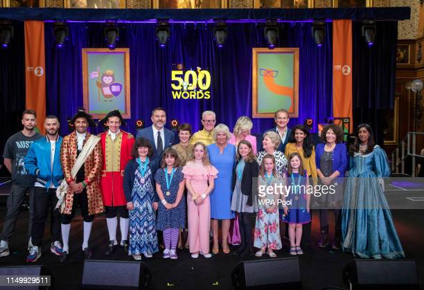 Camilla Duchess of Cornwall with Zoe Ball Chris Evans Hugh Bonneville David Walliams Helen McCrory and Sandi Toksvig attend the live broadcast of the...