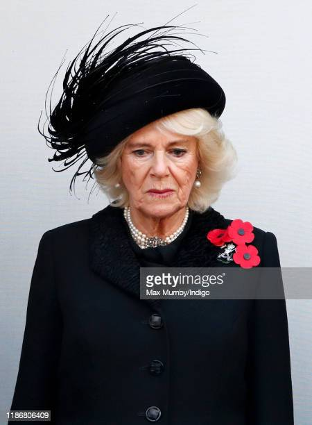 Camilla, Duchess of Cornwalls attend the annual Remembrance Sunday service at The Cenotaph on November 10, 2019 in London, England. The armistice...