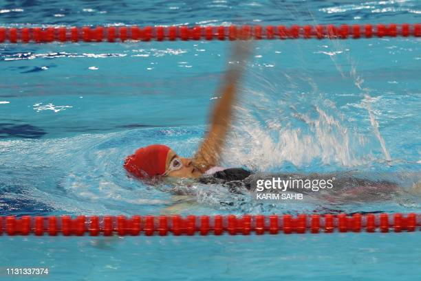 TOPSHOT Camilla Hansen of Denmark competes in the Special Olympics's 4x100 Meter medley relay at the Zayed Sports City Stadium in Abu Dhabi on March...