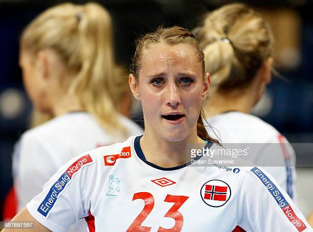 Camilla Herrem of Norway looks dejected after defeat in the 2013 World Women's Handball Championship 2013 match between Serbia and Norway at Kombank...