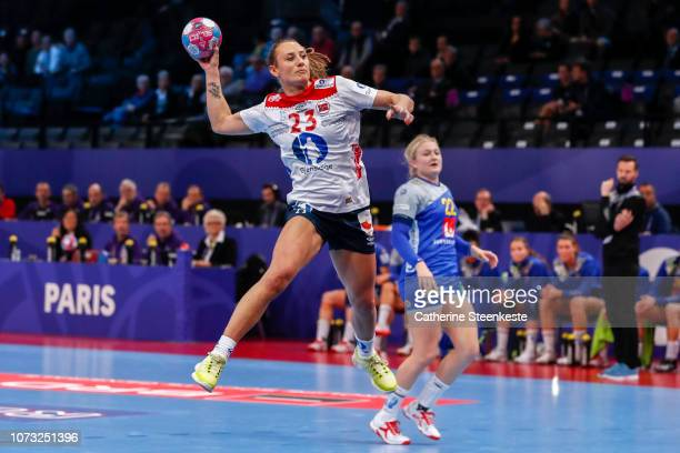 Camilla Herrem of Norway shoots the ball during the EHF Euro match for the classification 56 between Sweden and Norway at AccorHotels Arena on...