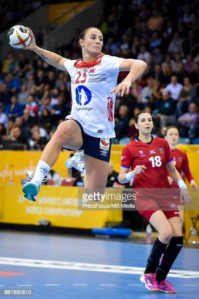 Camilla Herrem of Norway tries to score a goal during IHF Women's Handball World Championship group B match between Czech Republic and Norway on...