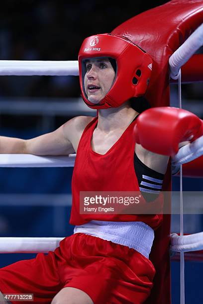 Camilla Johansen of Norway competes in her Women's Flyweight Round of 16 Bout against Ceire Smith of the Republic of Ireland during day seven of the...