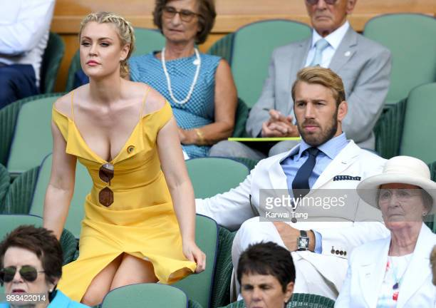 Camilla Kerslake and Chris Robshaw attend day six of the Wimbledon Tennis Championships at the All England Lawn Tennis and Croquet Club on July 7...