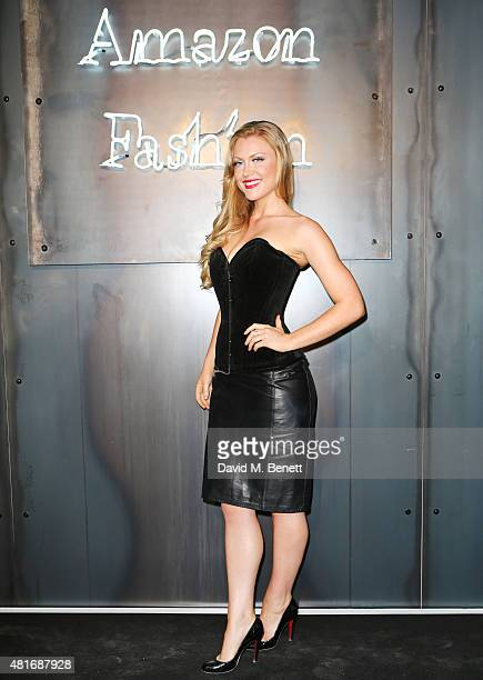 Camilla Kerslake arrives at the Amazon Fashion Photography Studio launch party which opened on July 23 2015 in London England Guest of honour was...