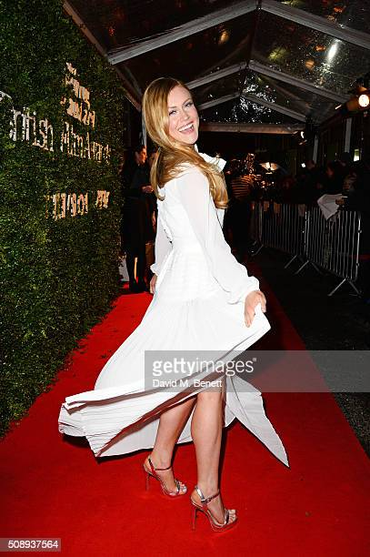 Camilla Kerslake arrives at the London Evening Standard British Film Awards at Television Centre on February 7 2016 in London England