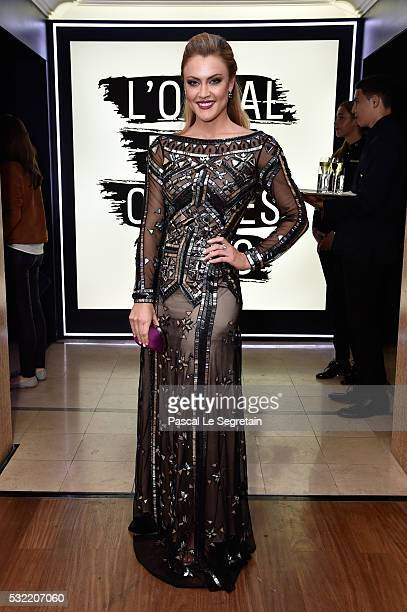 Camilla Kerslake attends the L'Oreal Paris Blue Obsession Party at the annual 69th Cannes Film Festival at Hotel Martinez on May 18 2016 in Cannes...