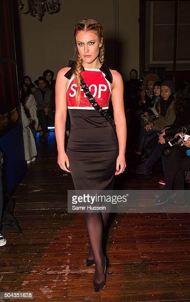 Camilla Kerslake attends the Moschino show during The London Collections Men AW16 on January 10 2016 in London England