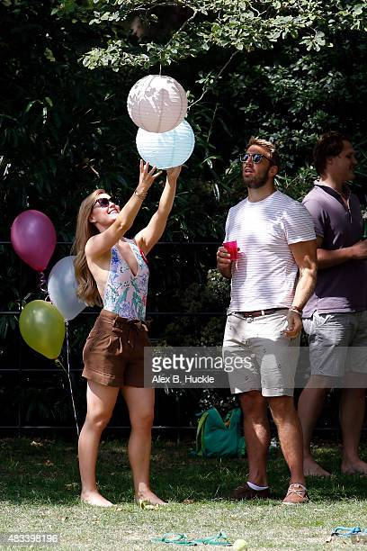 Camilla Kerslake seen celebrating her birthday with partner Chris Robshaw in Battersea Park on August 8 2015 in London England