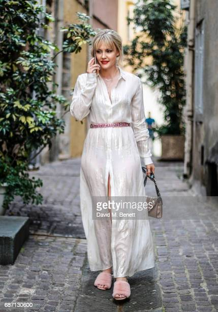 Camilla Kerslake wearing Esau Yori dress and Moy Atelier sunglasses at the 70th Annual Cannes Film Festival on May 23 2017 in Cannes France