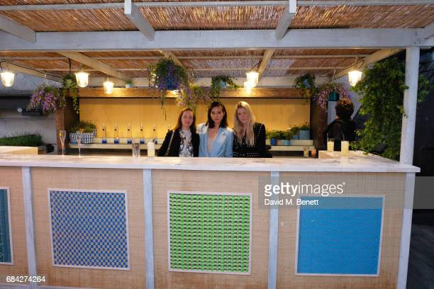 Camilla Kristensen Betty Bachz and Gracie Egan attend as Aqua Nueva launches the Formentera Terrace at Aqua Nueva on May 17 2017 in London England