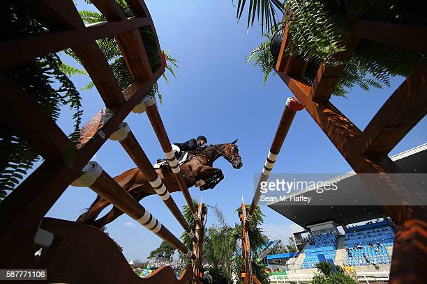 Camilla Kruger of Zimbabwe riding Biarritz during the eventing team jumping final and individual qualifier on Day 4 of the Rio 2016 Olympic Games at...