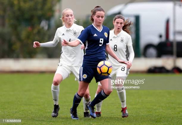 Camilla Kuever and Annika Wohnen of U16 Girls Germany challenges Eilidh Adams of U16 Girls Scotland during UEFA Development Tournament match between...