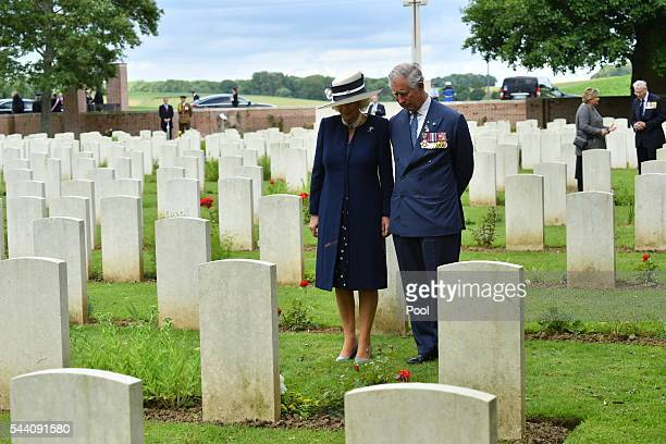 Camilla laid a wreath at the grave of her great uncle Captain Harry Cubitt who was killed on the Somme in September 1916 while serving with the...