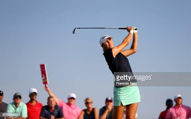 Camilla Lennarth of Sweden in action during Day Four of the Fatima Bint Mubarak Ladies Open at Saadiyat Beach Golf Club on November 4, 2017 in Abu...