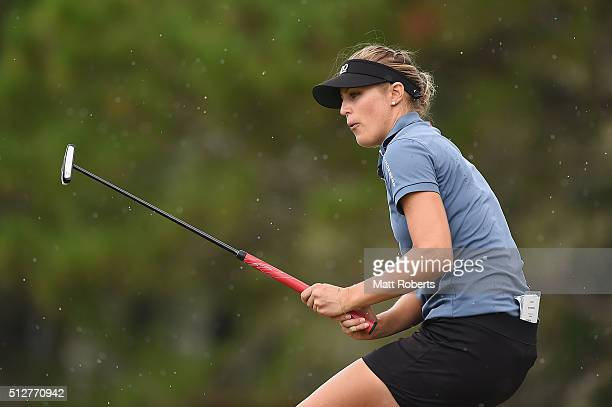 Camilla Lennarth of Sweden reacts on the sixth green during day four of the RACV Ladies Masters at Royal Pines Resort on February 28 2016 on the Gold...
