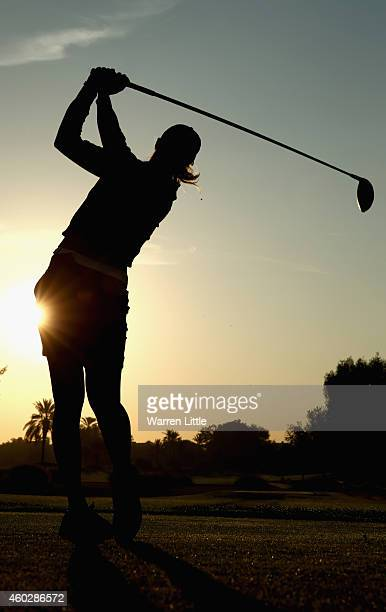 Camilla Lennarth of Sweden tees off on the 10th hole during the second round of the Omega Dubai Ladies Masters on the Majlis Course at the Emirates...