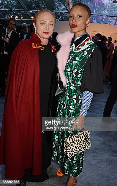 Camilla Lowther and Adwoa Aboah attend British Vogue's Centenary gala dinner at Kensington Gardens on May 23 2016 in London England