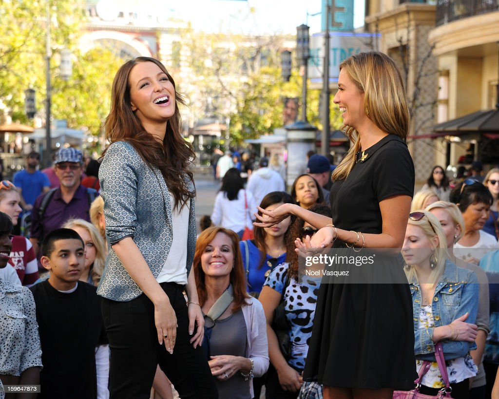 Camilla Luddington (L) and Renee Bargh visit Extra at The Grove on January 17, 2013 in Los Angeles, California.