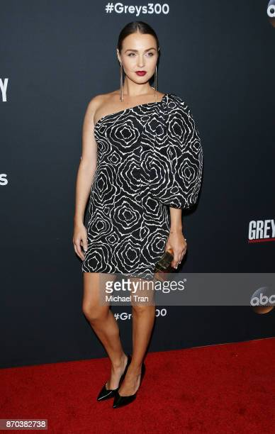Camilla Luddington arrives at the 300th episode celebration for ABC's 'Grey's Anatomy' held at TAO Hollywood on November 4 2017 in Los Angeles...