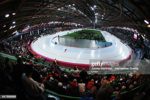 Camilla Lund of Norway competes in the Ladies 3000m during day one of the World Allround Speed Skating Championships at Viking Skipet Hamar Olympic...