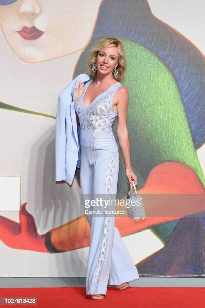 Camilla of Borbon walks the red carpet ahead of the The Anarchist Banker screening during the 75th Venice Film Festival at Sala Giardino on September...