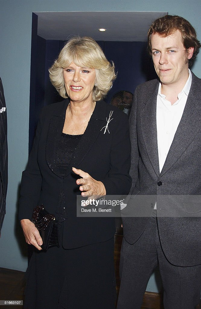 Camilla Parker Bowles and Tom Parker Bowles attend the party celebrating the launch of Tom Parker-Bowles new book ' E Is For Eating' at Kensington Place on November 3, 2004 in London. Subtitled 'An Alphabet Of Greed', book focuses on unusual subjects including 'c is for cannibalism' and 'i is for insects'.