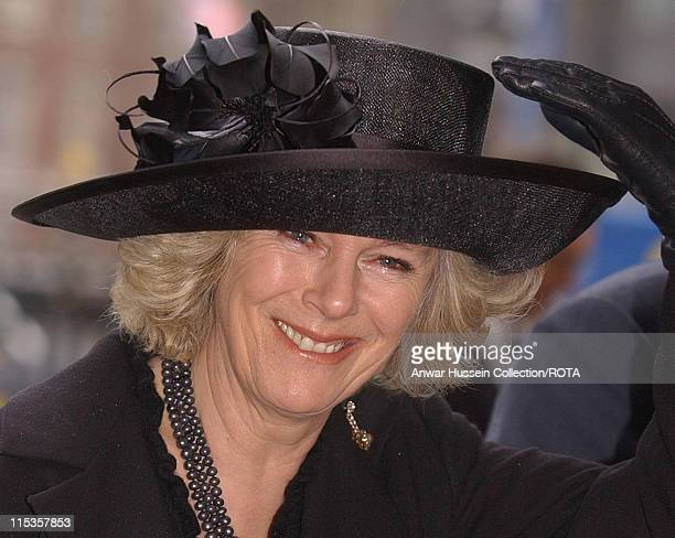 Camilla Parker Bowles arrives at Westminster Abbey Wednesday March 2 in central London to attend a service of thanksgiving for the life and work of...