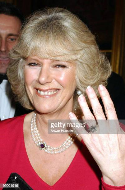 Camilla Parker Bowles shows her engagement ring when she arrives for a party at Windsor Castle after announcing their engagement earlier 10 February...