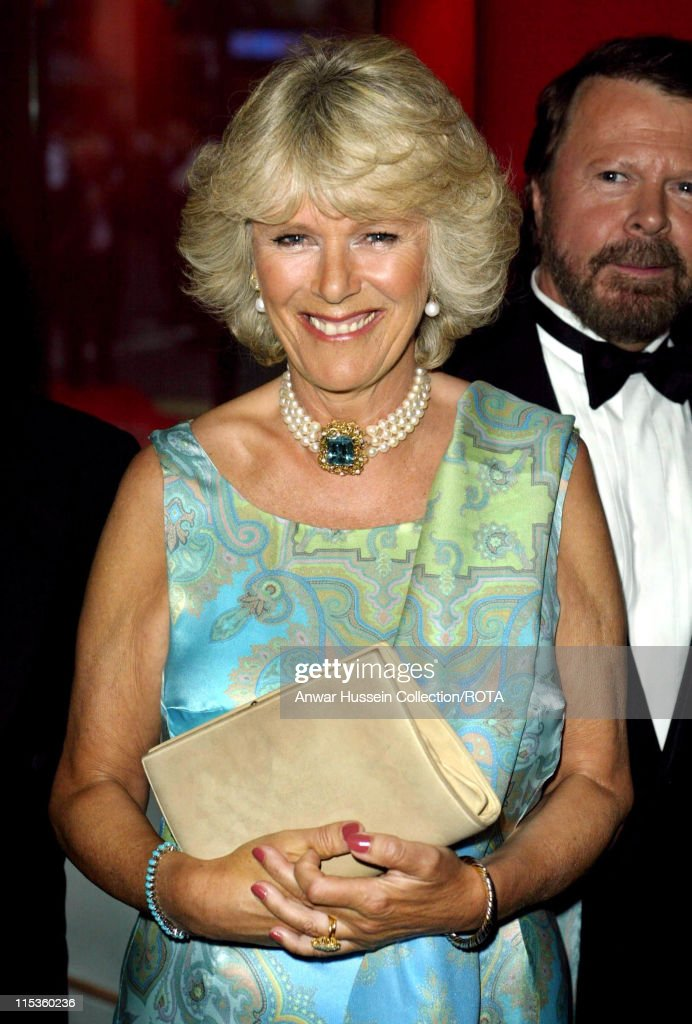 Camilla Parker Bowles, who accompanied The Prince of Wales, to the Prince of Wales Theatre in London for the re-opening of the hit ABBA muscal 'Mamma Mia!', Thursday 10th June 2004.