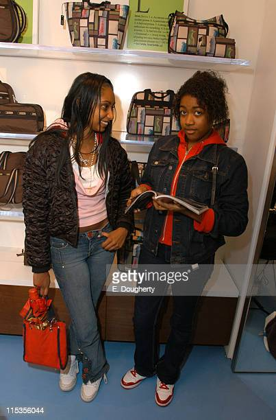 Camilla Ramdin and Corlissa Walker shoppers during Teen Vogue and LeSportsac Celebrate LAMB Collection at LeSportsac Store Madison Avenue in New York...