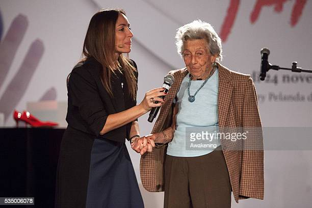 Camilla Raznovich and Luciana Riccioni Marini attend the show 'MaiPiù' organised by ACEA ahead of the International Day against Violence on Women