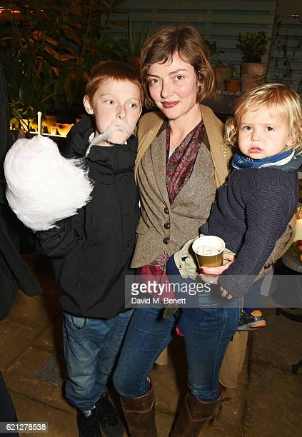 Camilla Rutherford and children attend The Ivy Chelsea Garden's Guy Fawkes party on November 5 2016 in London England