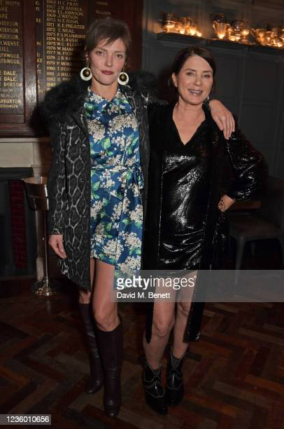 """Camilla Rutherford and Sadie Frost attend the after party for Sadie Frost's """"Quant"""" at The Chelsea Pig by Timothy Oulton on October 20, 2021 in..."""