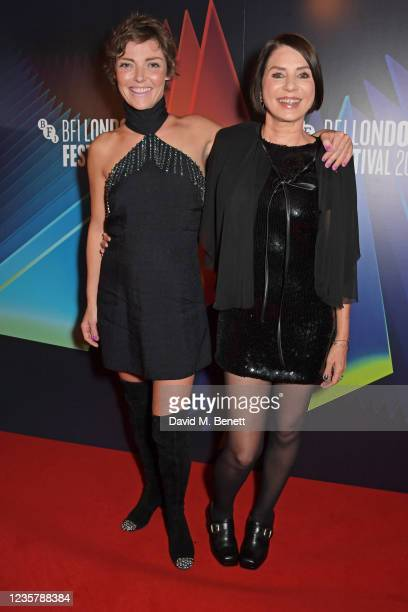 """Camilla Rutherford and Sadie Frost attend the World Premiere of """"Quant"""" during the 65th London Film Festival at The Curzon Mayfair on October 9, 2021..."""