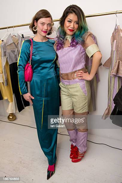 Camilla Rutherford and Star Hu attend the Star Hu store launch party on November 20 2012 in London United Kingdom